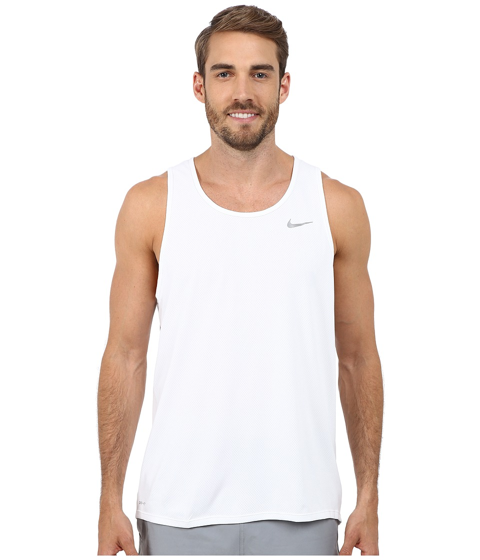 Nike - Dri-FIT Contour Running Singlet (White/Reflective Silver) Men's Workout
