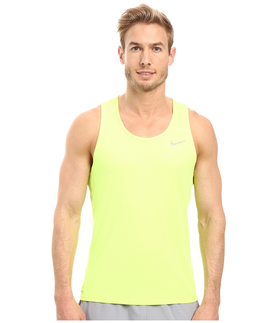Nike - Dri-FIT Contour Running Singlet (Volt/Reflective) Men's Workout