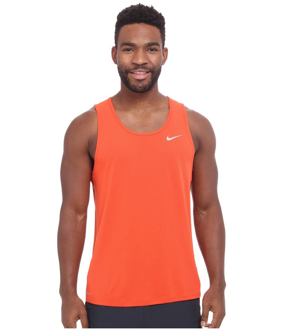 Nike - Dri-FIT Contour Running Singlet (Team Orange/Cinnabar/Reflective Silver) Men's Workout