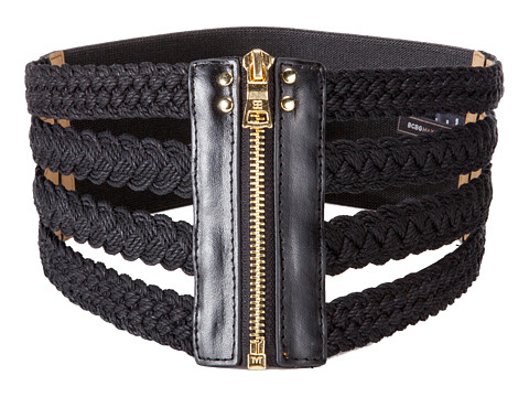 BCBGMAXAZRIA - Woven Waist Belt (Black) Women