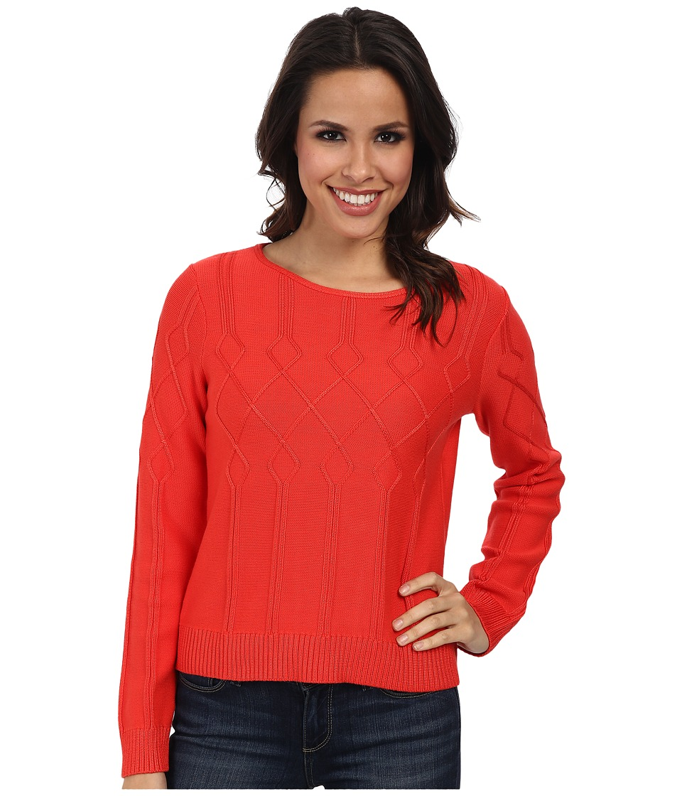 Pendleton - Placed Cable Pullover (Poppy Red) Women