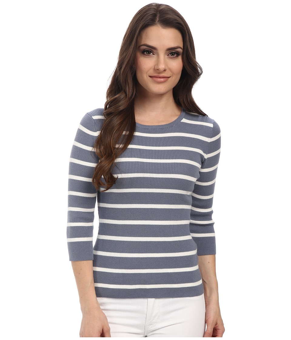 Pendleton - Petite 3/4 Sleeve Stripe Pullover (Blue Ash/Ivory Stripe) Women's Long Sleeve Pullover