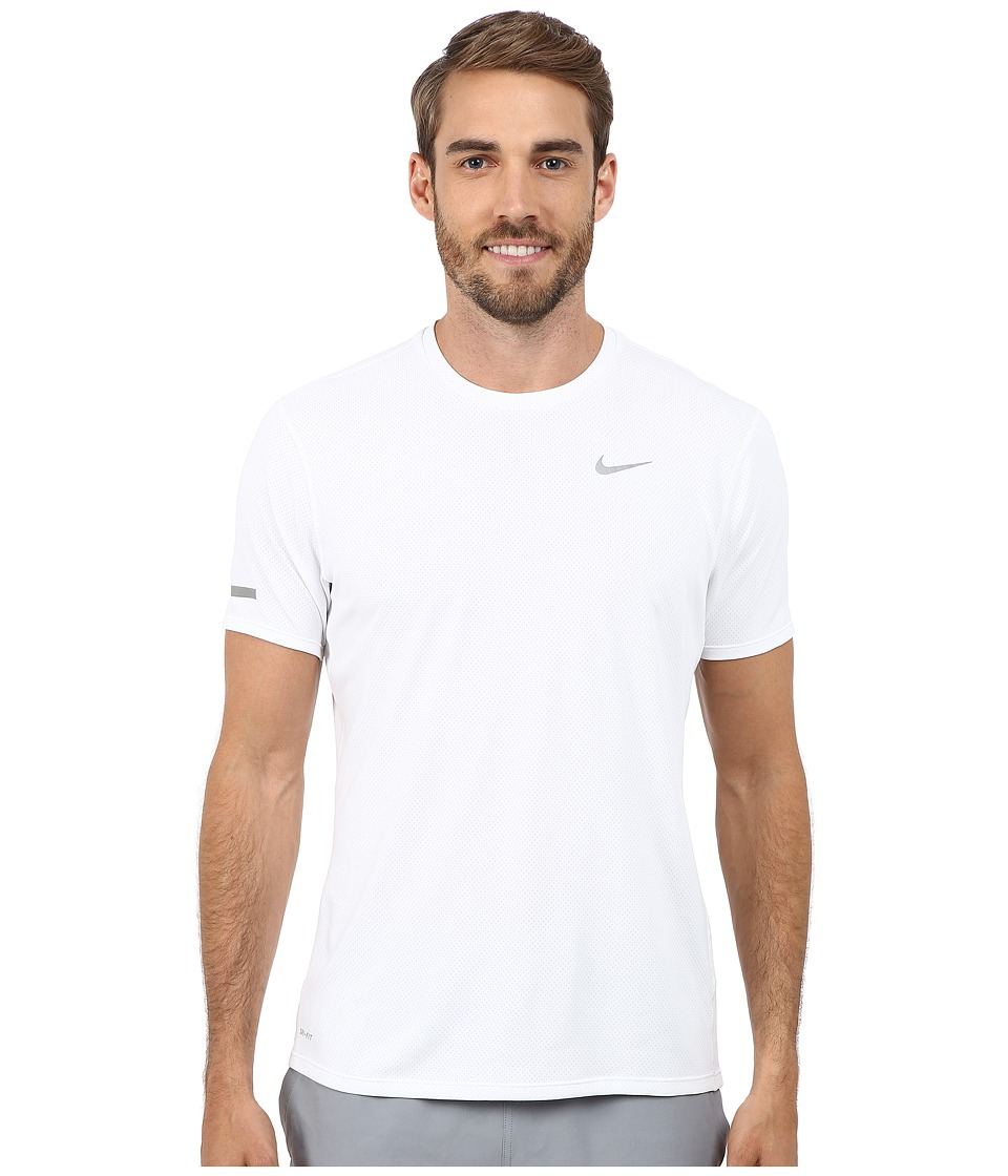 Nike Dri-FITtm Contour S/S Running Shirt (White/Reflective Silver) Men