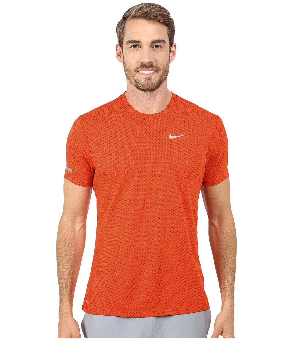 Nike - Dri-Fit Contour S/S Shirt (Team Orange/Cinnabar/Reflective Silver) Men