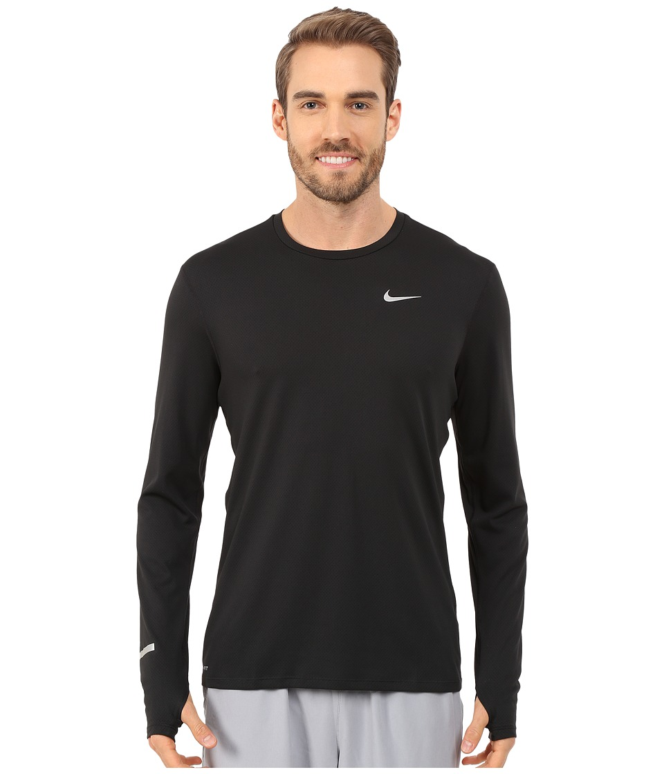 Nike Dri-FITtm Contour L/S Running Shirt (Black/Reflective Silver) Men