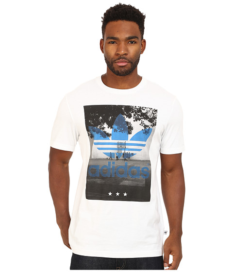 adidas Originals - Court Trefoil Tee (White/Black/Bluebird) Men