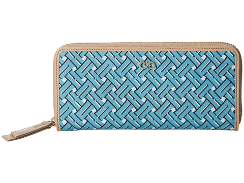 Cole Haan - Signature Weave Continental Zip Wallet (Aqua Haze) Wallet Handbags