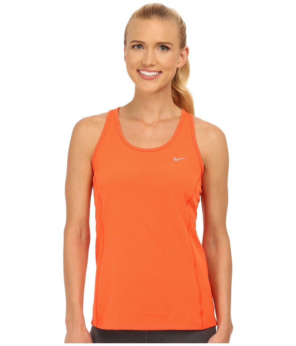 Nike - Dri-FIT Contour Tank Top (Electro Orange/Reflective Silver) Women's Sleeveless