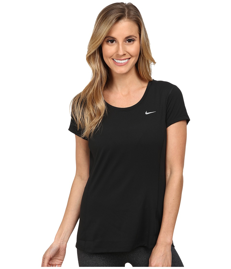 Nike - Dry Contour Running Tee (Black/Reflective Silver) Women's Short Sleeve Pullover
