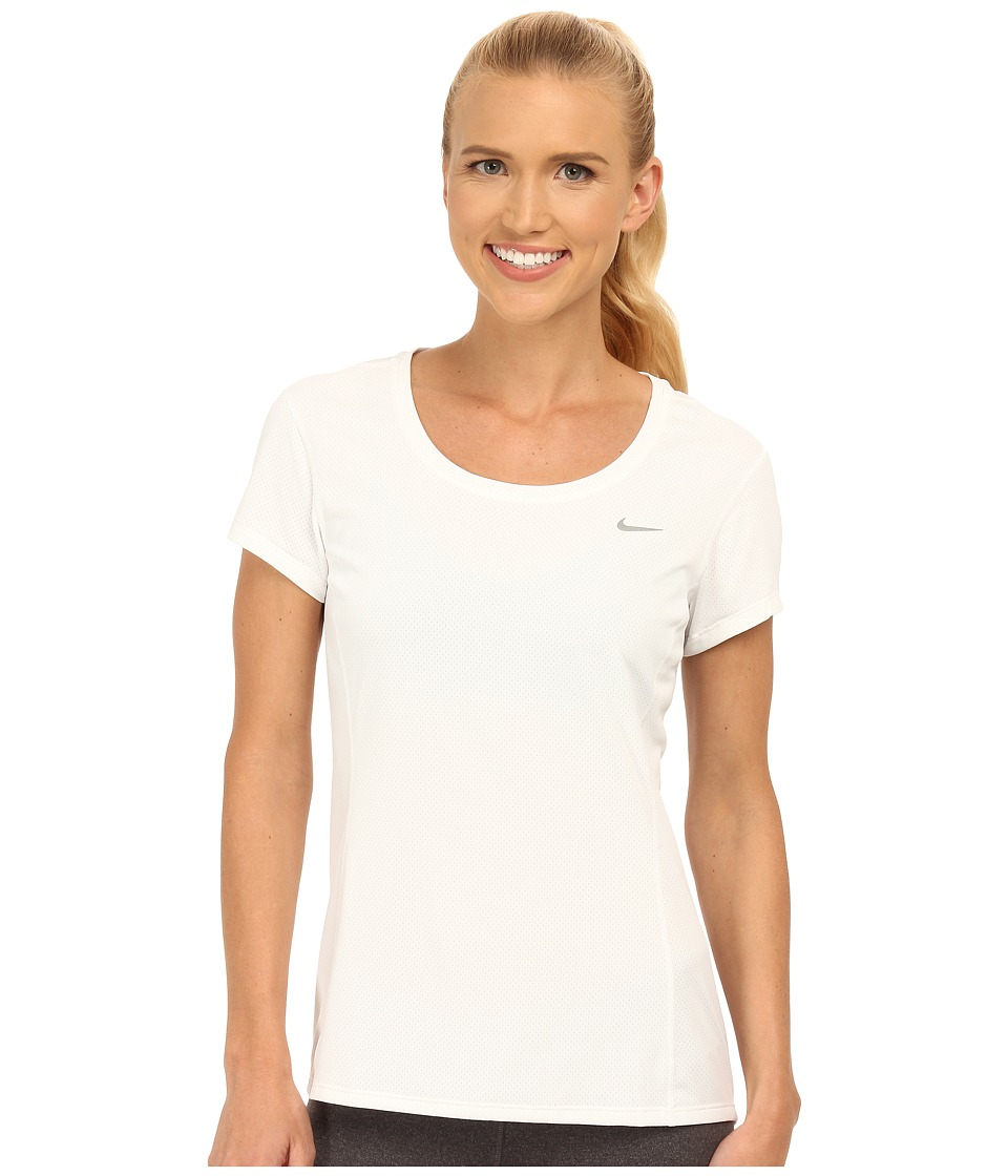 Nike - Dri-FIT Contour Short Sleeve (White/Reflective Silver) Women's Short Sleeve Pullover