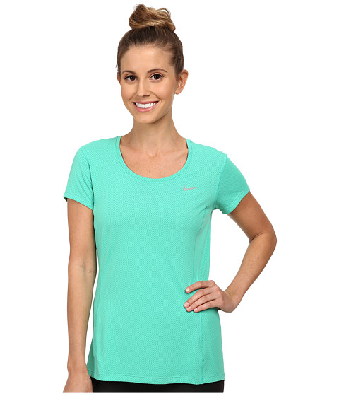 Nike - Dri-FIT Contour Short Sleeve (Emerald Glow/Reflective Silver) Women's Short Sleeve Pullover