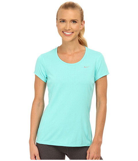 Nike - Dri-FIT Contour Short Sleeve (Light Aqua/Reflective Silver) Women's Short Sleeve Pullover