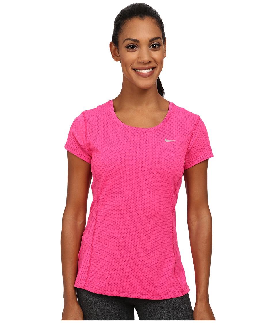 Nike - Dri-FIT Contour Short Sleeve (Vivid Pink/Reflective Silver) Women's Short Sleeve Pullover