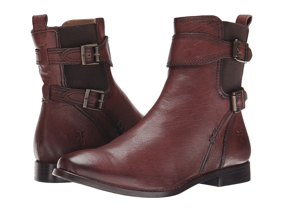 Frye Anna Gore Short Chocolate Buffalo Leather Cowboy Boots