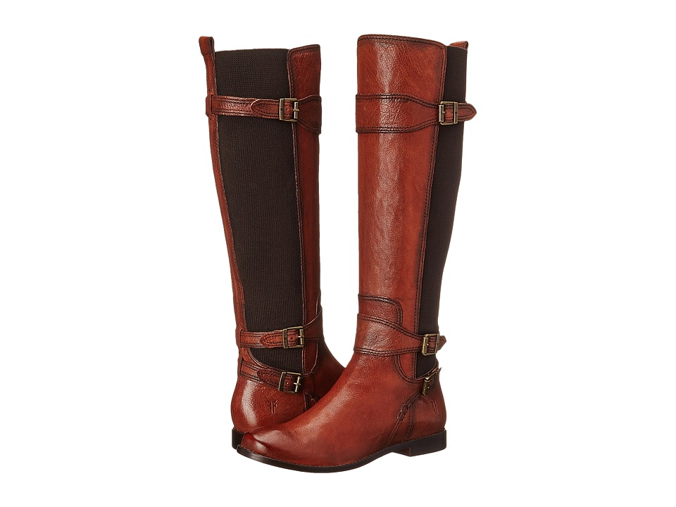 Frye Anna Gore Tall Whiskey Buffalo Leather Cowboy Boots