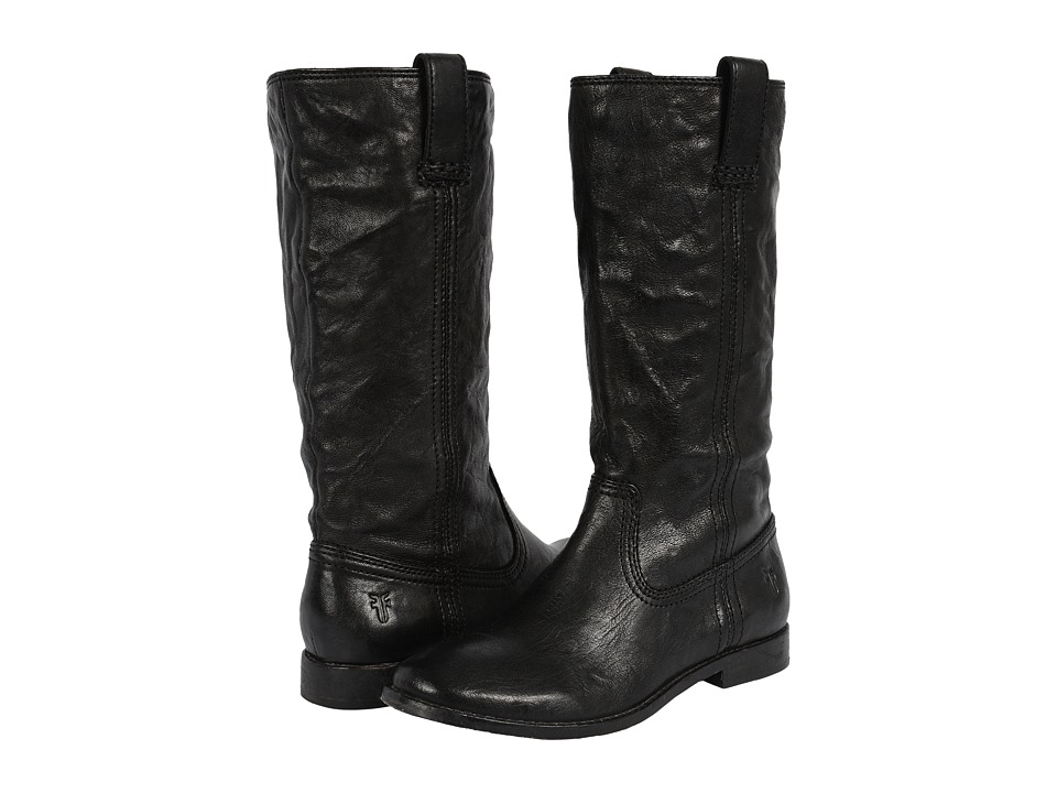 Frye - Anna Mid Pull On (Black Antique Soft Vintage) Cowboy Boots