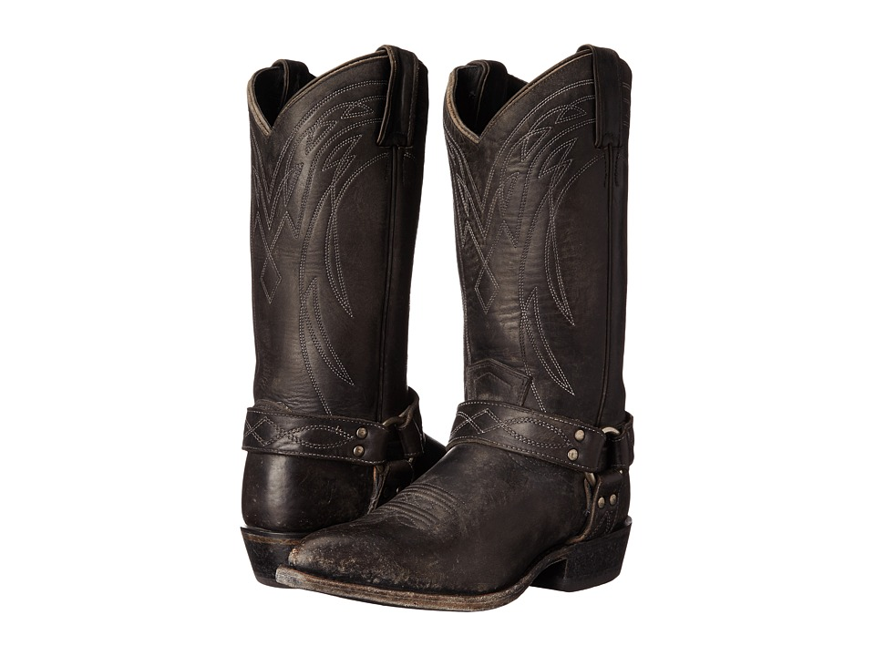Frye Billy Harness (Black Smooth Stonewash) Cowboy Boots
