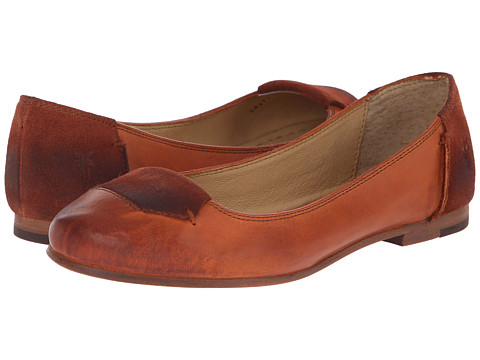 Frye - Carson Tab Ballet (Whiskey Smooth Vintage Leather/Oiled Suede) Women's Slip on Shoes