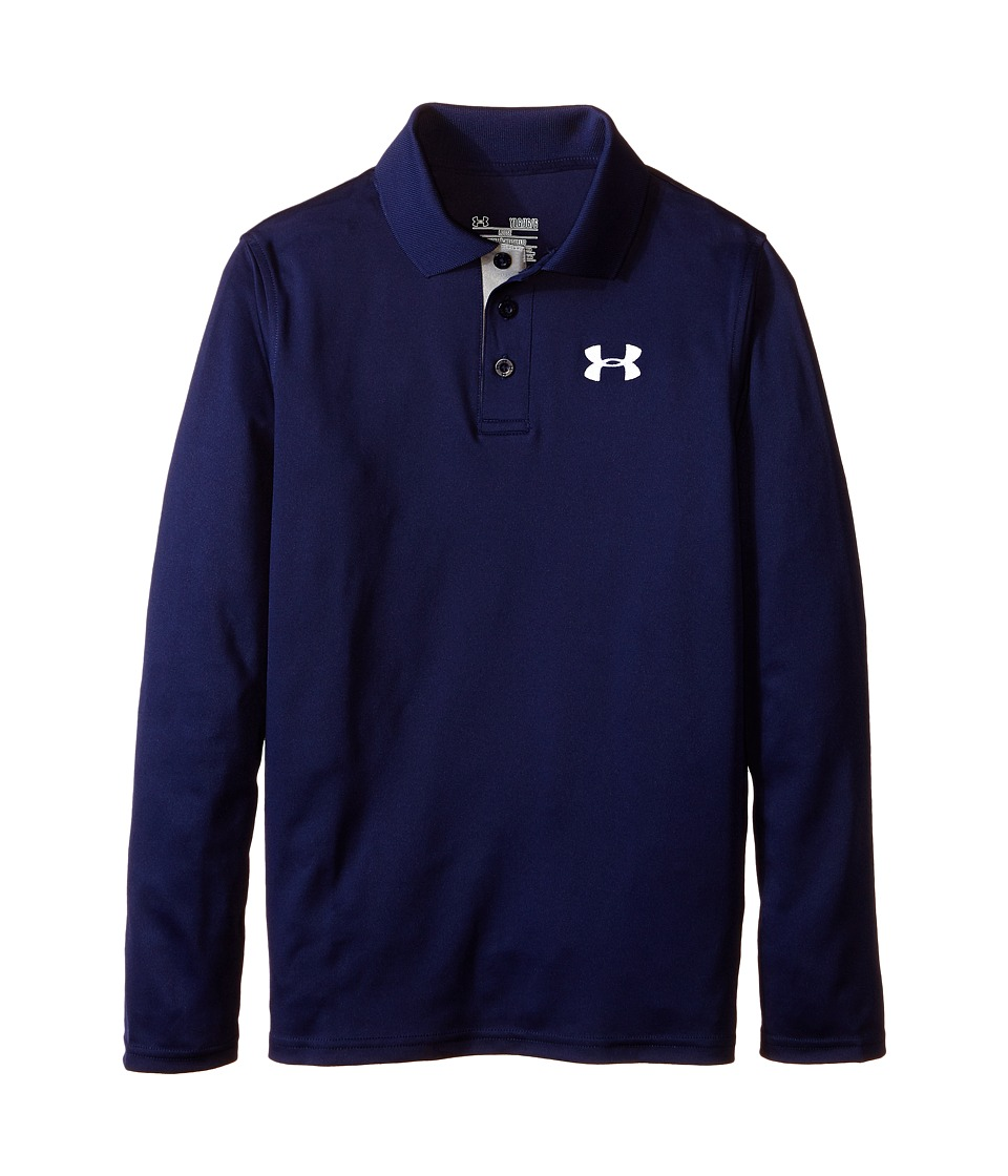 Under Armour Kids - UA Matchplay Long Sleeve Polo (Big Kids) (Midnight Navy/True Gray Heather/White) Boy's Long Sleeve Pullover