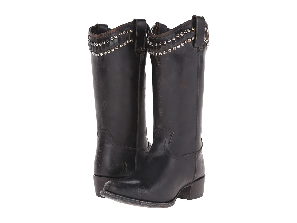 Frye Diana Cut Stud Tall (Black Stonewash) Cowboy Boots