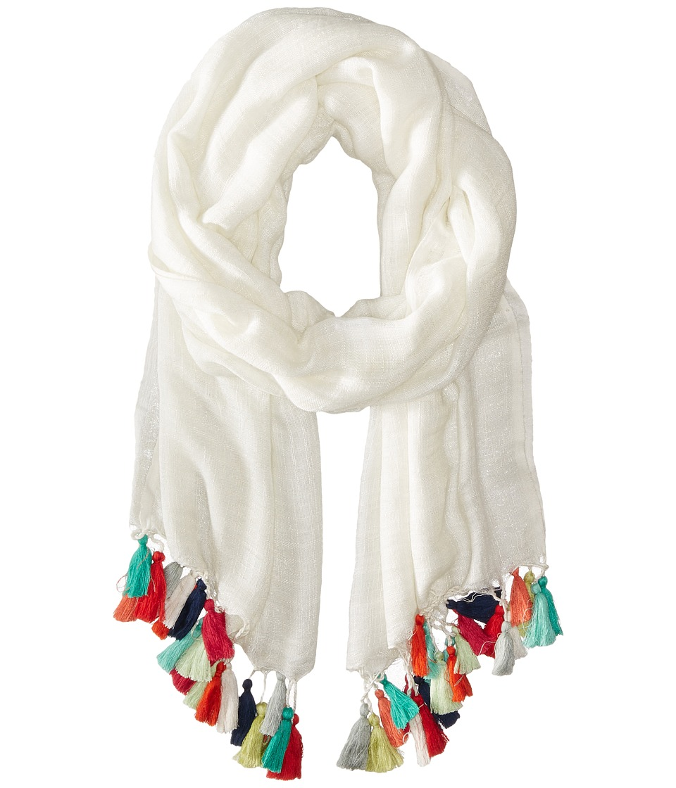 San Diego Hat Company - BSS1384 Cotton Scarf w/ Tassels (White) Scarves