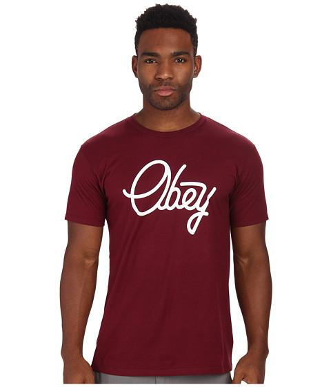 Obey - Prep. Script Premium Tee (Burgundy) Men