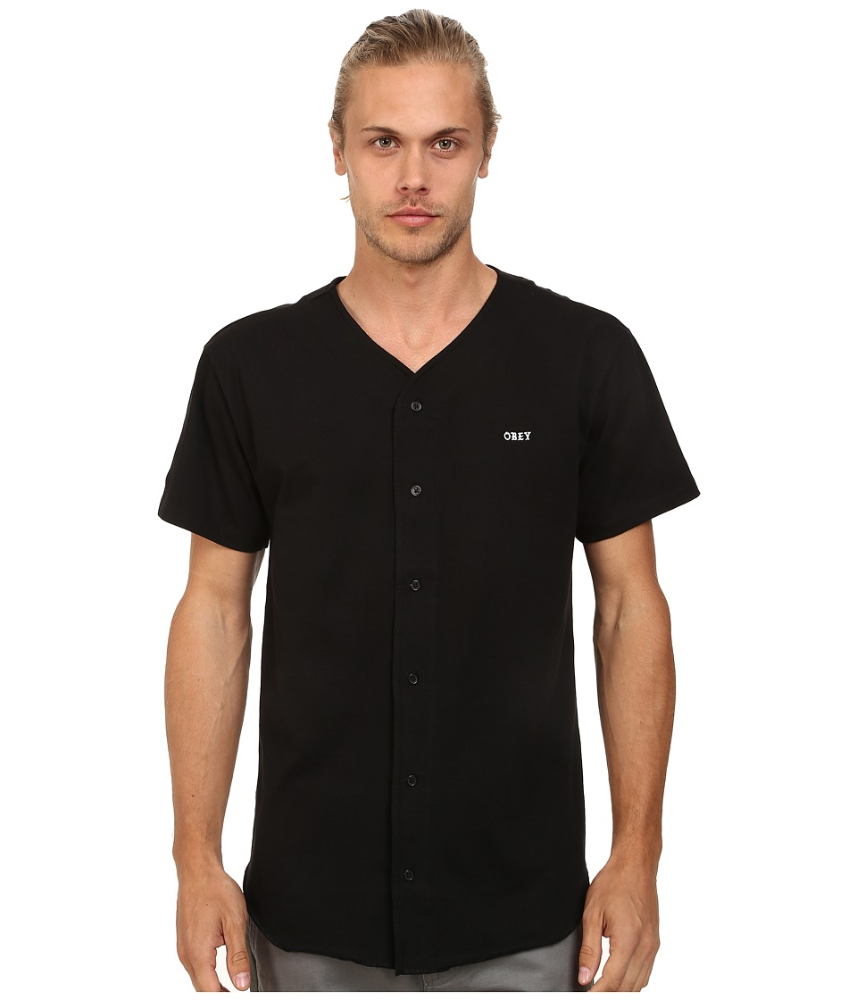 Obey - Hartford Baseball Jersey (Black) Men's Clothing