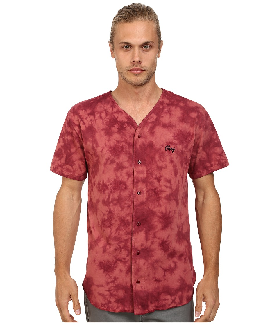 Obey - Haight Baseball Jersey (Burgundy) Men's Clothing