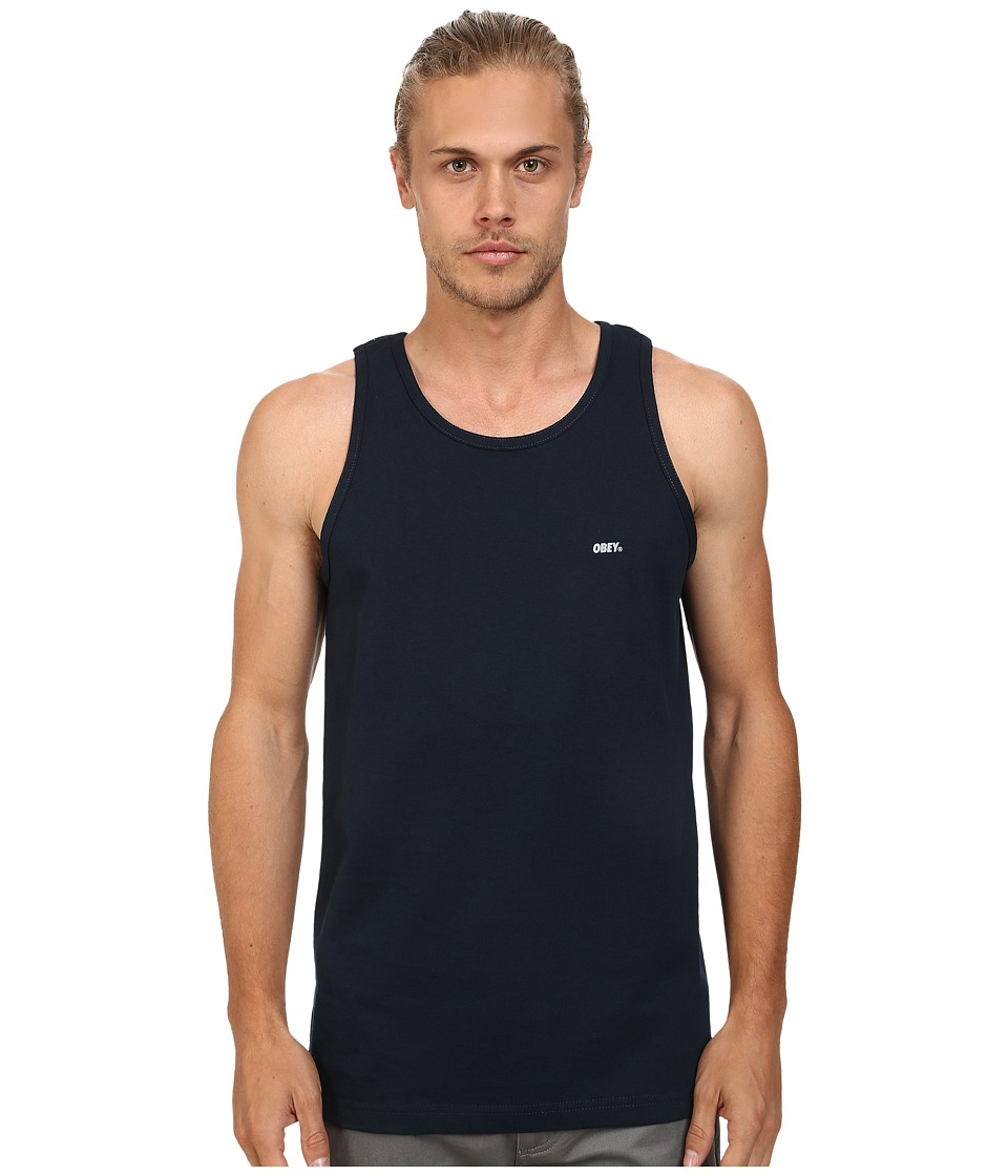 Obey - Font Reflective Tank Top (Navy) Men's Sleeveless