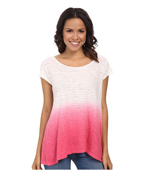 DKNY Jeans - Dip Dye Stripe Sharkbite Tee (Azalea) Women's T Shirt