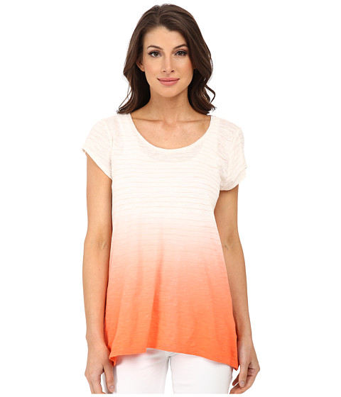 DKNY Jeans - Dip Dye Stripe Sharkbite Tee (Coral) Women's T Shirt