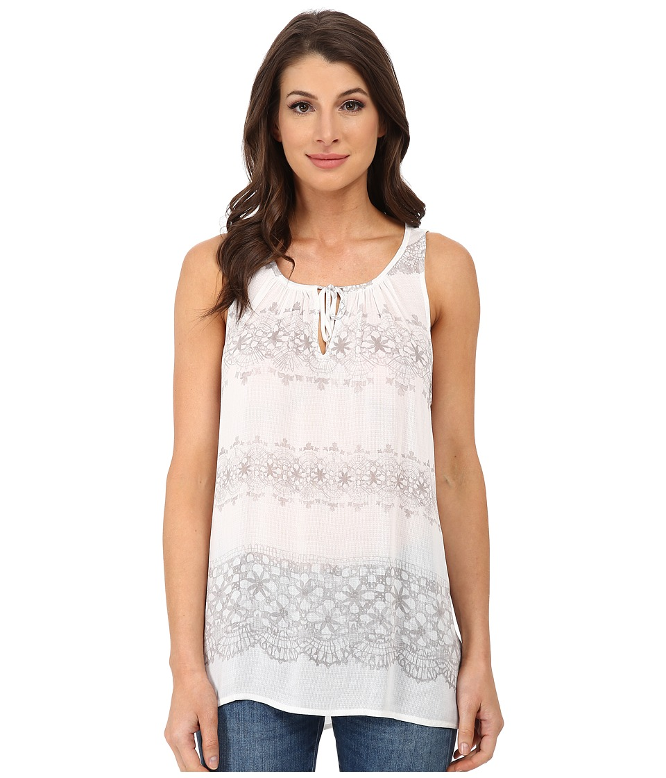 DKNY Jeans - Printed Lace Tank Top (Pebble) Women's Sleeveless