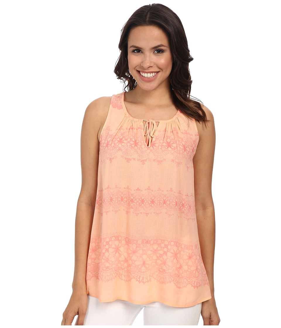 DKNY Jeans - Printed Lace Tank Top (Coral) Women's Sleeveless