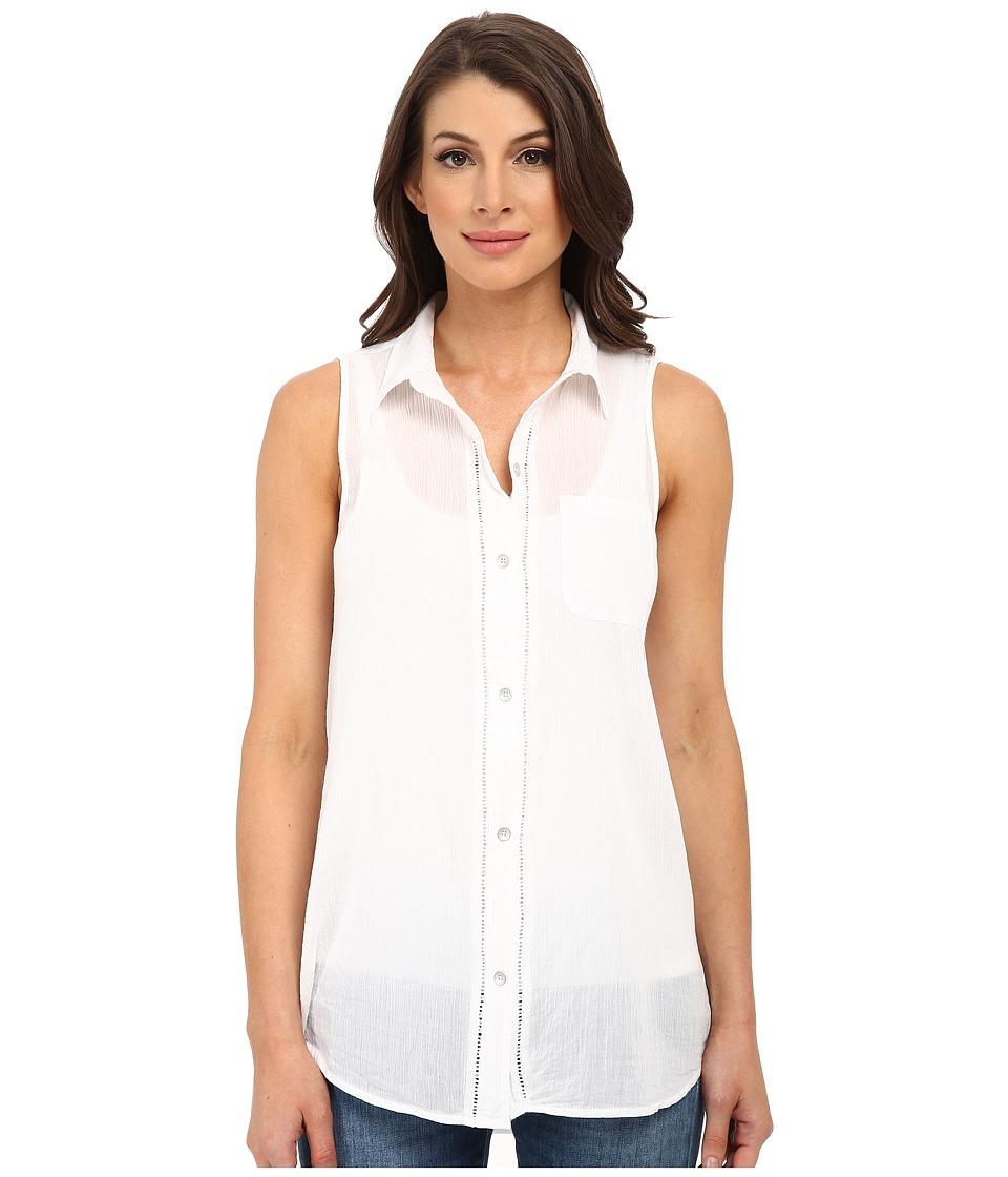 DKNY Jeans - Cotton Gauze Sleeveless Boyfriend Shirt (White) Women