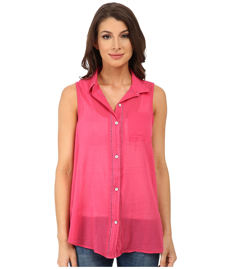 DKNY Jeans - Cotton Gauze Sleeveless Boyfriend Shirt (Azalea) Women's Sleeveless