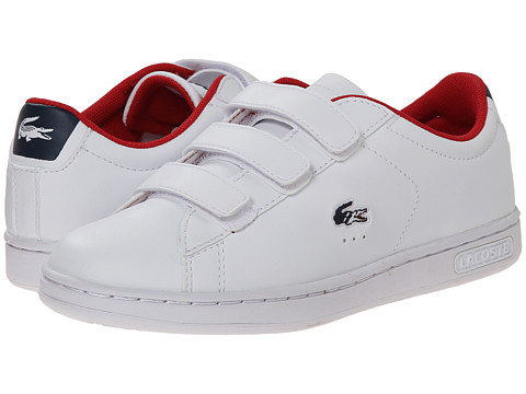 Lacoste - Carnaby EVO HTB SP15 (Little Kid) (White/Red) Shoes
