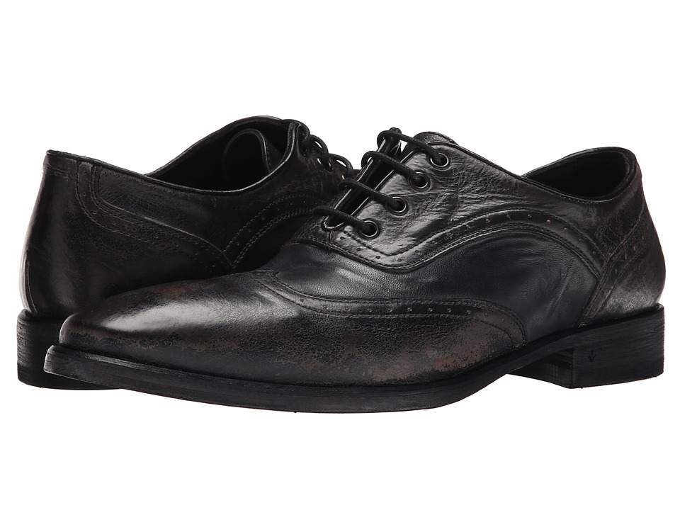 John Varvatos - Fleetwood Wingtip (Black Sand) Men's Lace Up Wing Tip Shoes