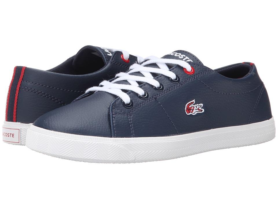 Lacoste Kids - Marcel HTB SP15 (Little Kid) (Dark Blue/Red) Kid's Shoes