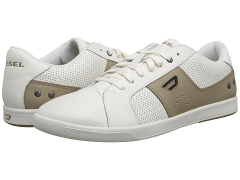 Diesel - Eastcop Gotcha (White/Silver Mink) Men's Lace up casual Shoes
