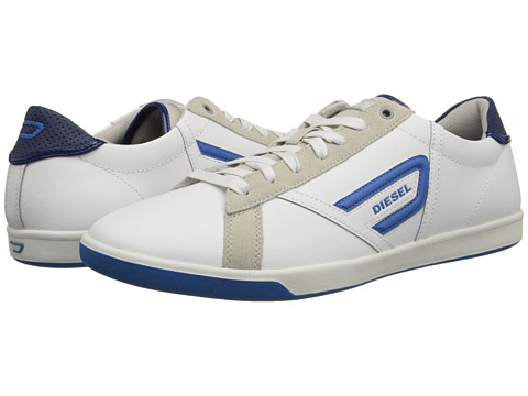 Diesel - Eastcop Grantor Low (White/Snorkel Blue) Men's Lace up casual Shoes