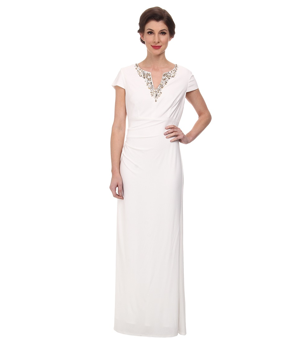 Vince Camuto Ity Gown with Cap Sleeve and Beading (Ivory) Women
