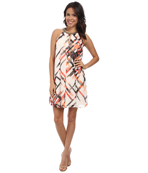 Vince Camuto - Short Trapeze with Keyhole Beaded Neck (Print) Women's Dress