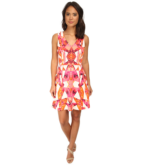Vince Camuto - Sleeveless V-Neck Fit and Flare with Overlock Detail (Pink) Women's Dress