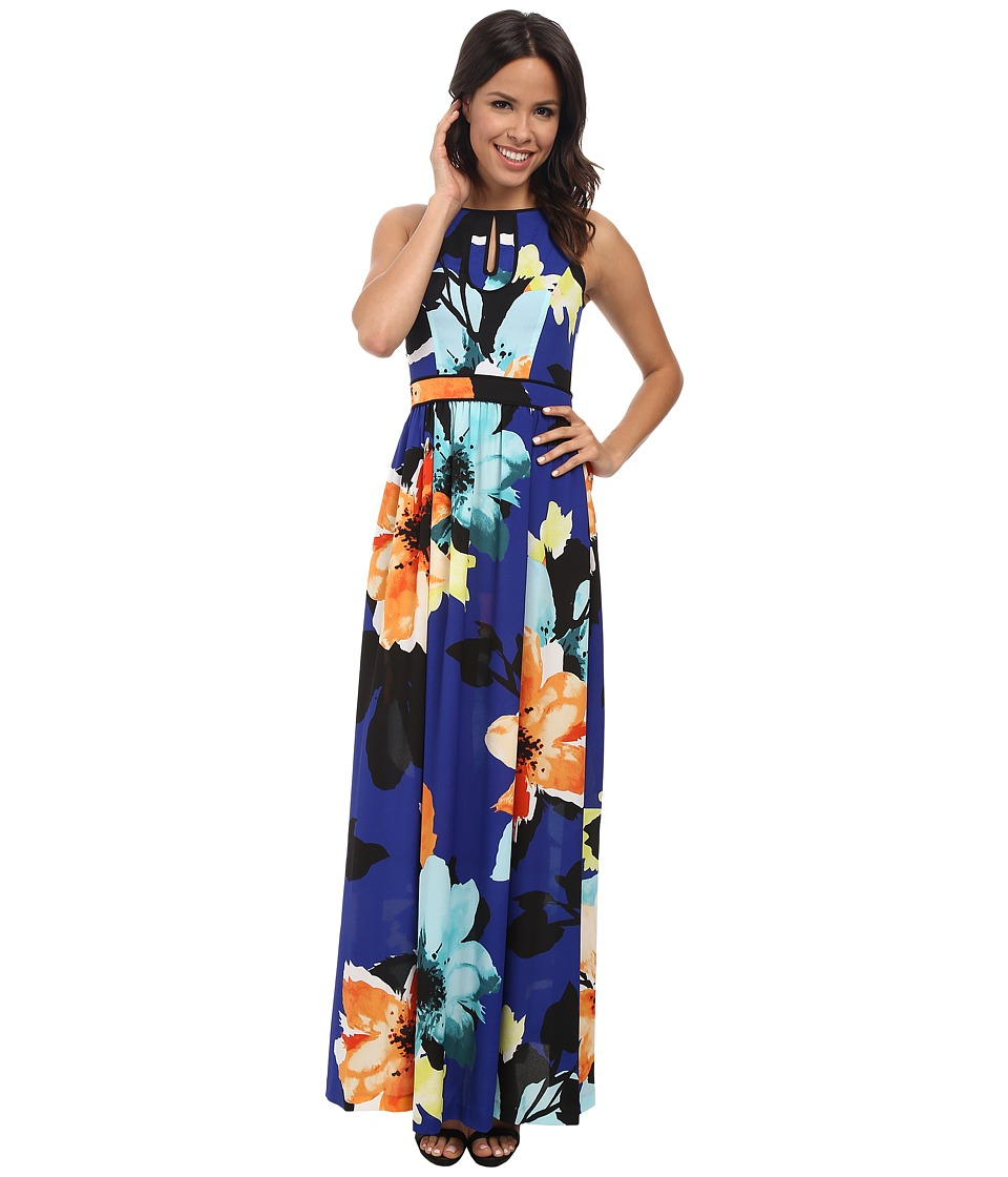 Vince Camuto - Sleeveless Maxi with Piped Keyhole Bodice (Print) Women's Dress