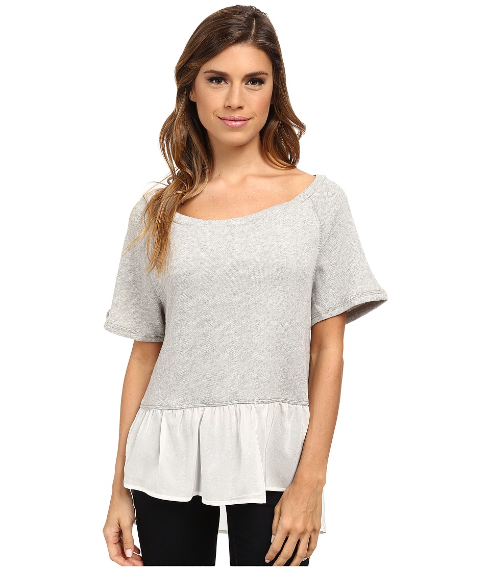 Dylan by True Grit - Short Sleeve Raglan w/ Vint Georgette (Vintage Grey Heather) Women's Clothing