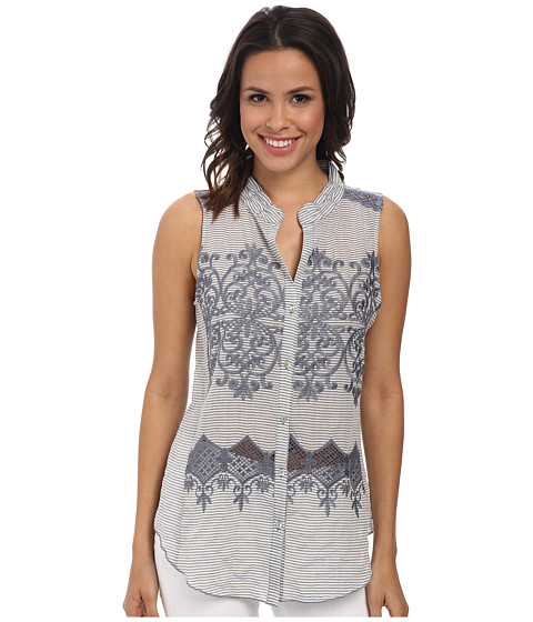 Dylan by True Grit - Sleeveless Stripe w/ Lace Embroidery (Indigo/White) Women's Clothing