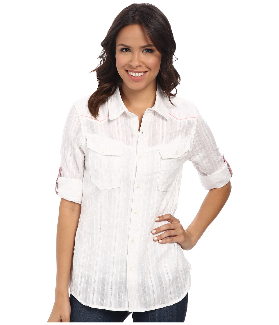 Dylan by True Grit - Rancher Roll Sleeve Victorian w/ Stripe (White) Women's Clothing