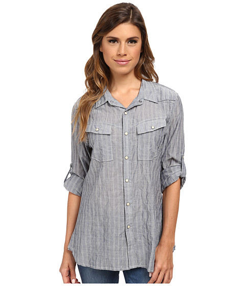 Dylan by True Grit - Rancher Roll Sleeve Indigo Triple Stripe (Denim/White) Women's Clothing