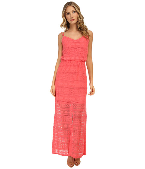 Vince Camuto - Blouson Maxi with Tank Top and Illusion Hem (Coral) Women's Dress