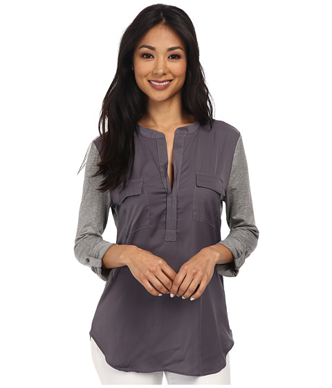 Dylan by True Grit - Roll Sleeve (Charcoal) Women's Clothing